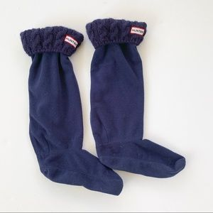 Hunter NAVY Tall Cable Knit Cuff Welly Socks ML